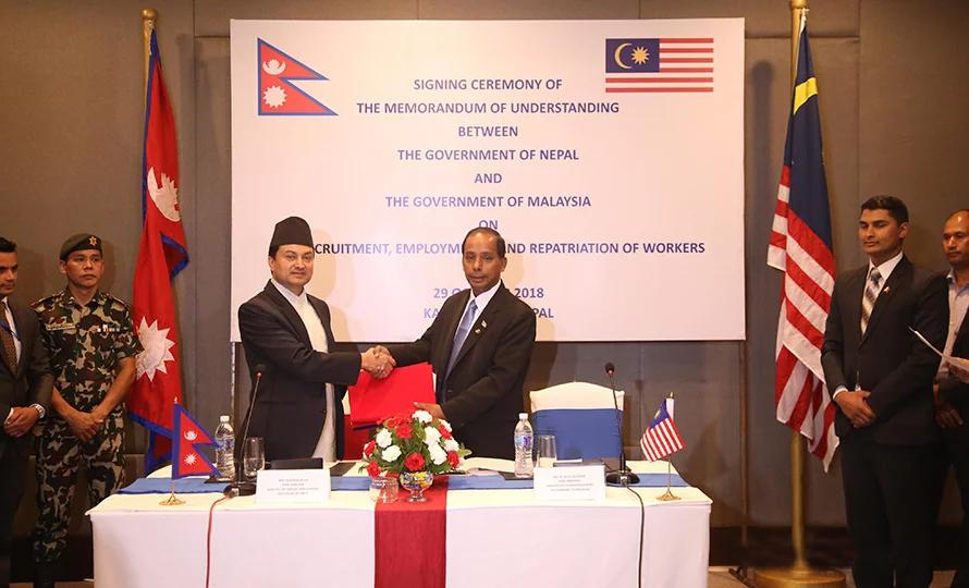 श्रम सम्वन्धको १७ वर्षपछि नेपाल र मलेसियाबीच श्रम सम्झौता, मन्त्री विष्ट र कुलासेगरानले गरे हस्ताक्षर