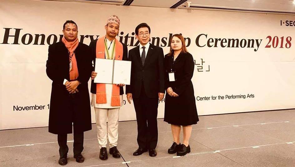 नेपाली युवा क्षेत्रीलाई कोरियन सरकारले दियो मानार्थ कोरियन नागरिकता