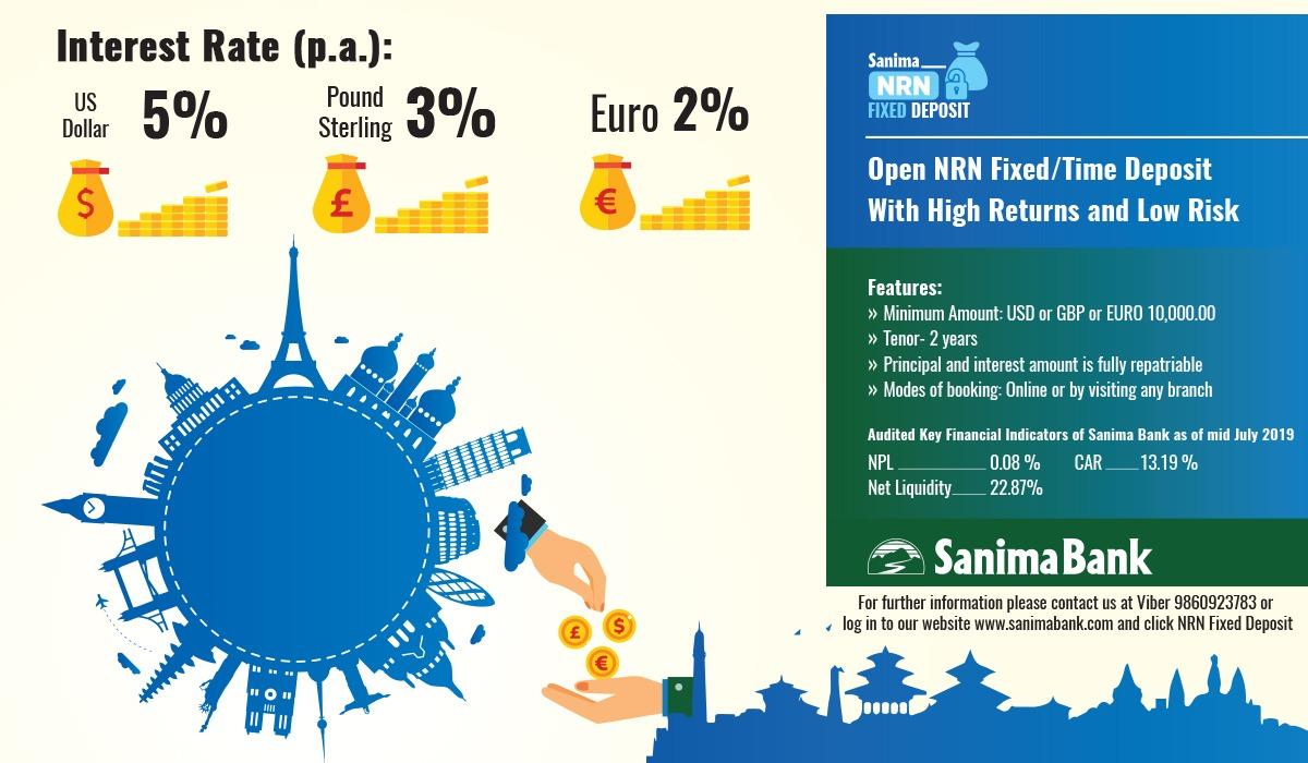 गैरआवासीय नेपालीलाई सानिमा बैंकको 'एनआरएन मुद्दती खाता'