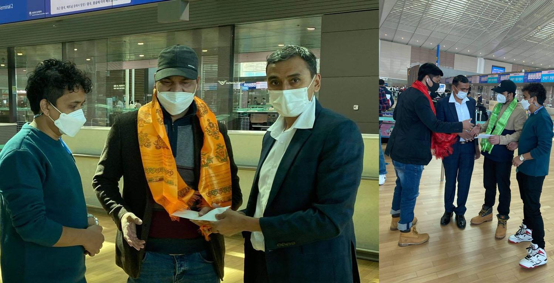कोरियन एयरको निःशुल्क टिकट उपहार पाएपछि न्यौपाने र खनाल मख्ख, शुक्रवार २ सय ४ जनासहित स्वदेश उडे