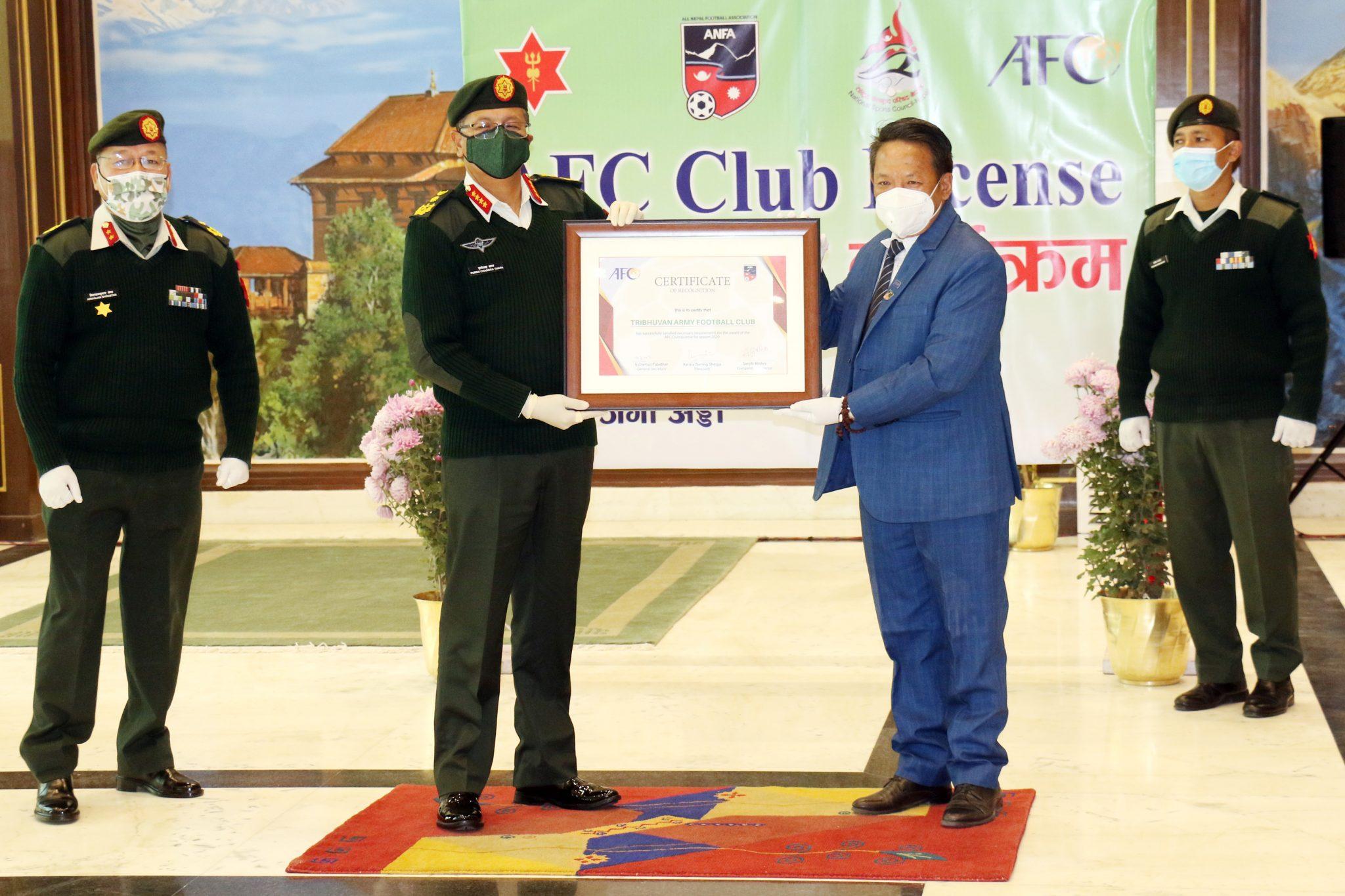 त्रिभुवन आर्मी क्लवले पायो एएफसी कप क्लब लाइसेन्स