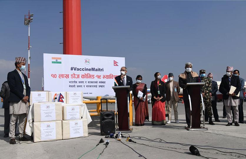 भारतद्धारा अनुदानमा प्राप्त कोरोनाविरुद्धको दश लाख 'कोभिसिल्ड' खोप काठमाडौ आइपुग्यो